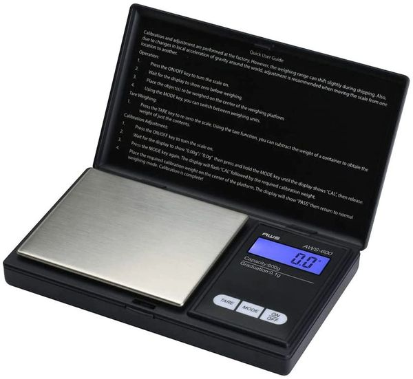 Aws Series Digital Pocket Weight Scale 600 G X 0 1 G Small Kitchen Scales Black Aws 600 Blk Smoke Shop Accessories
